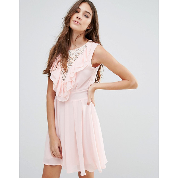 """WAL G Lace Insert Skater Dress With Ruffles - """"""""Evening dress by Wal G, Woven fabric, Round neckline,..."""