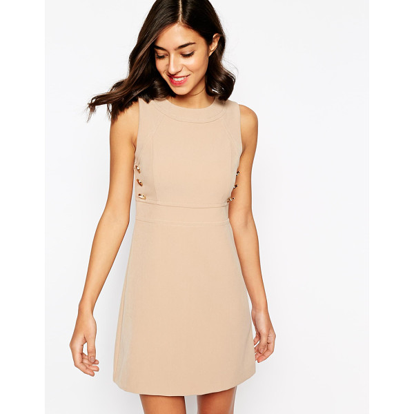 WAREHOUSE Buttton detail shift dress - Dress by Warehouse, Smooth, woven fabric, Round neckline,...