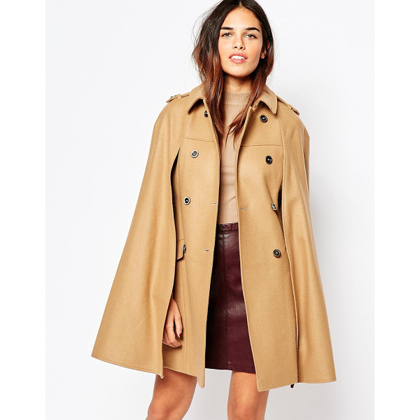 WAREHOUSE Camel cape - Cape by Warehouse Soft-touch, wool-mix fabric Lined finish...
