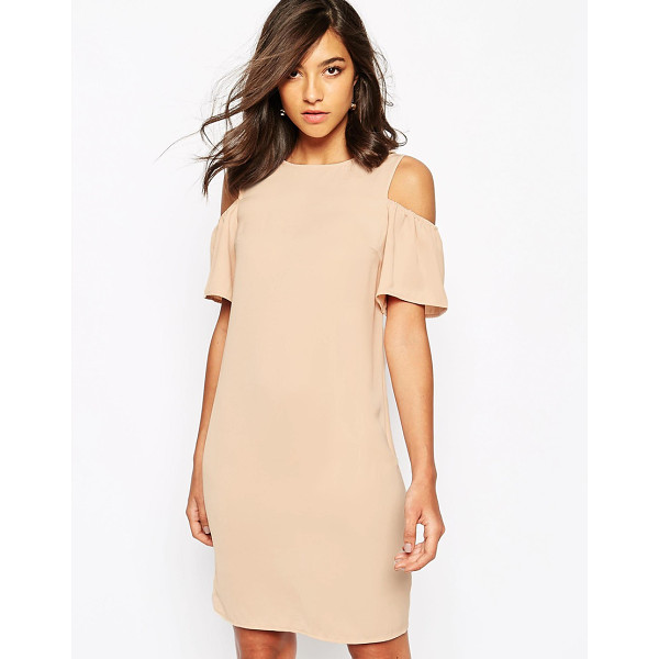 WAREHOUSE Cold shoulder shift dress - Dress by Warehouse, Lightweight, soft-touch fabric, Round...