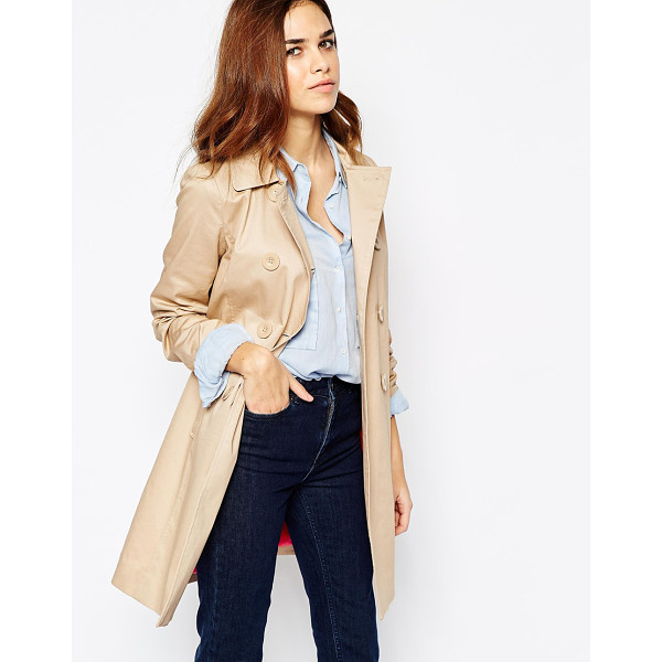 WAREHOUSE Double breasted trench - Trench by Warehouse Lightweight, stretch cotton Contrast...