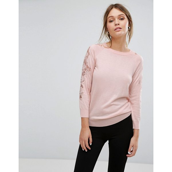 "WAREHOUSE Lace Insert Sweater - """"Sweater by Warehouse, Soft-touch fine knit, Crew neck,..."