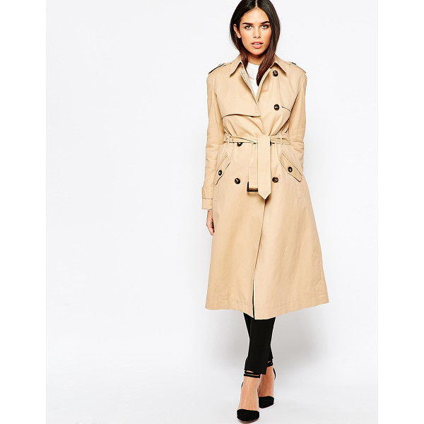 WAREHOUSE Longline Trench - Trench by Warehouse, Woven fabric, Notch lapel collar,...