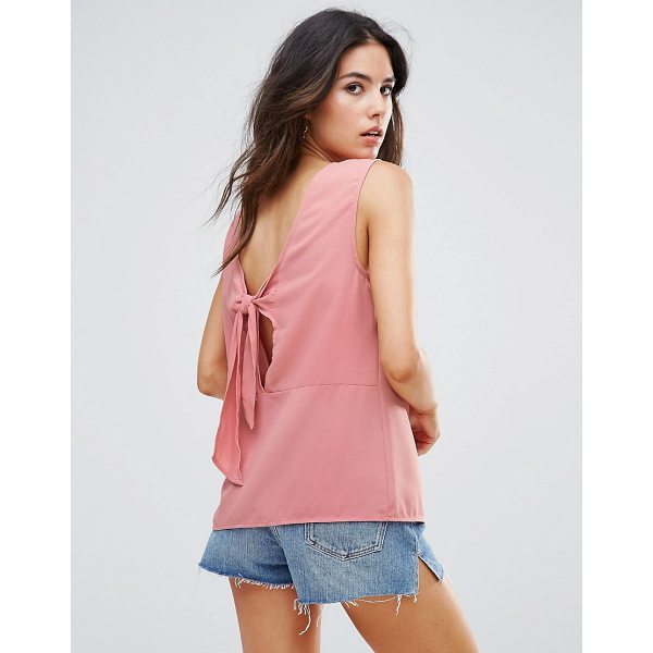 "WAREHOUSE Open Back Tie Top - """"Top by Warehouse, Lightweight woven fabric, Scoop neck,..."