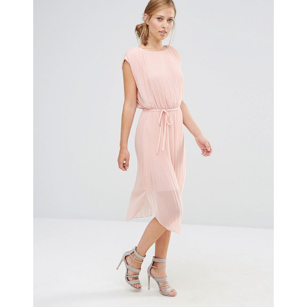 "WAREHOUSE Pleated Curved Hem Dress - """"Dress by Warehouse, Lightly pleated woven fabric, Round..."