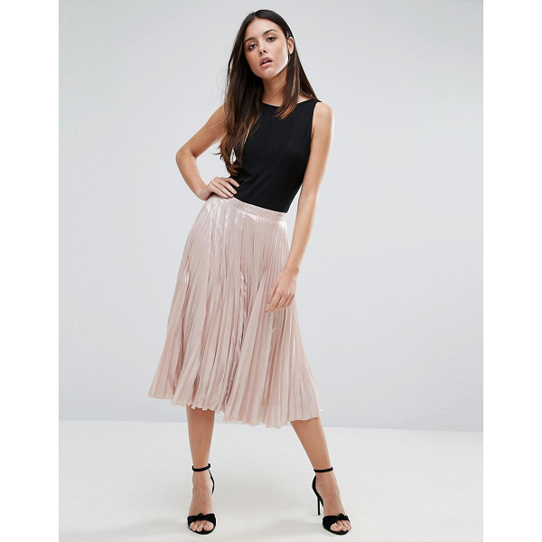 WAREHOUSE Pleated Lame Skirt - Skirt by Warehouse, Satin-style fabric, Pleated design,