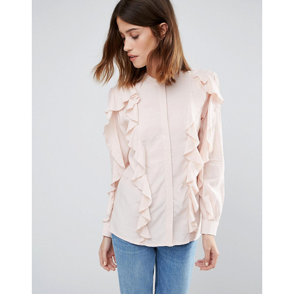 WAREHOUSE Ruffle Blouse - Top by Warehouse, Soft-touch woven fabric, Round neckline,...
