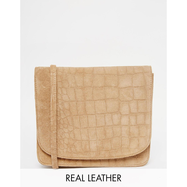 WAREHOUSE Suede croc crossbody - Cart by Warehouse Real leather outer Croc texture finish...