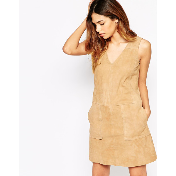 WAREHOUSE Suede shift dress - Dress by Warehouse Unlined, smooth suede V-neckline Side...