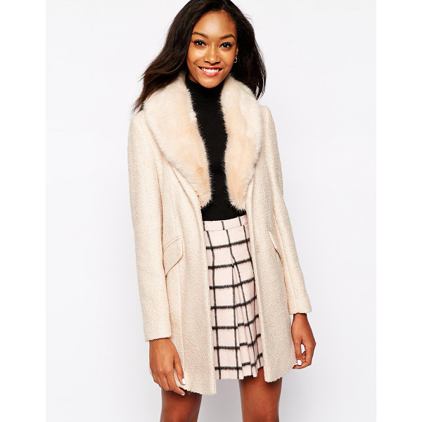 WAREHOUSE Tweed faux fur collar coat - Coat by Warehouse Textured fabric Faux fur collar Concealed...