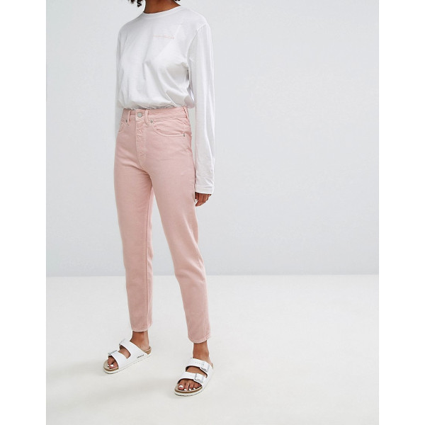 """WAVEN Elsa Mom Jean in Pastel - """"""""Mom jeans by W VEN, Non-stretch denim, Pink wash,..."""