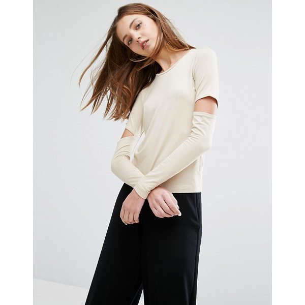WEEKDAY Cut out Sleeve Top - Top by Weekday, Smooth stretch jersey, Scoop-neck, Cut-out...