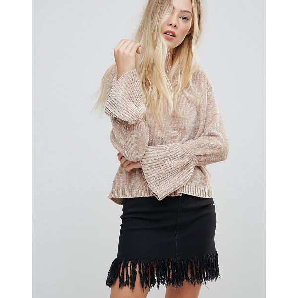"""WILD FLOWER Chenille Sweater With Fluted Sleeves - """"""""Sweater by Wild Flower, Soft-touch knit, Round neck,..."""