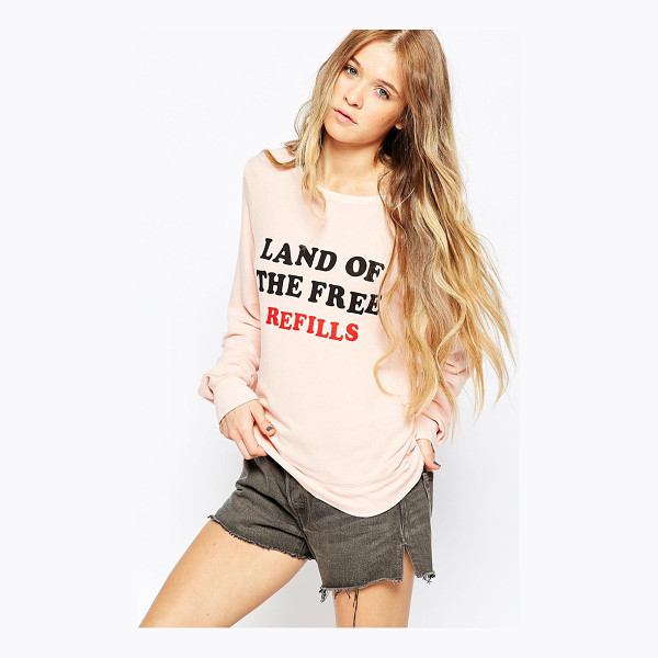 WILDFOX Free refills long sleeve sweatshirt - Sweater by Wildfox Stretch jersey Baggy styling Round...