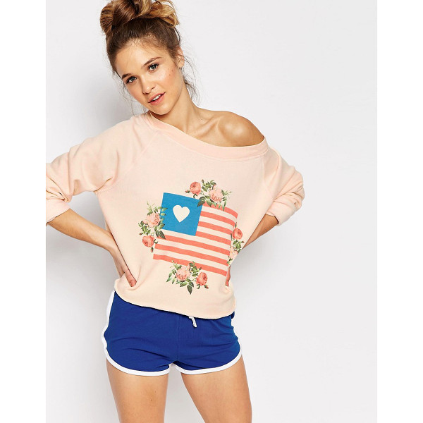 WILDFOX Granny's Flag Sweater - Sweater by Wildfox, Soft-touch knit, Boat neckline, Raglan...