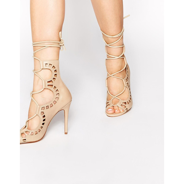 WINDSOR SMITH Nude ghillie tie up peep toe shoes - Shoes by Windsor Smith Matte leather upper Cut out design...