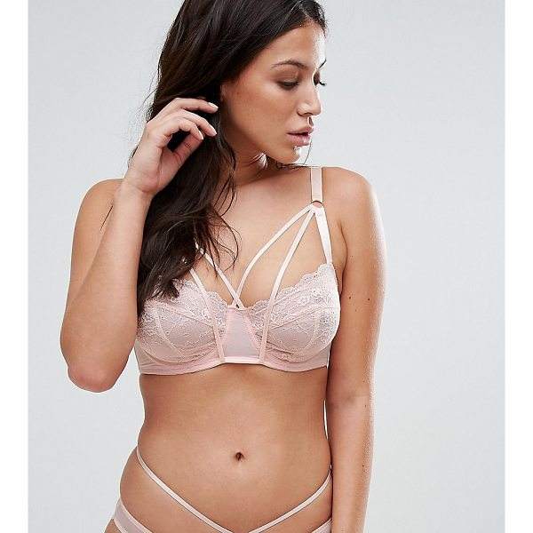 WOLF & WHISTLE B-G Cup Peach Lace Underwire Lattice Strap Bra - Bra by Wolf Whistle, Sheer lace, Non-padded cups, Underwire...