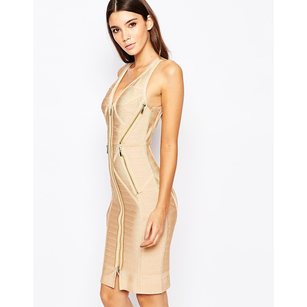 WOW COUTURE WOW Couture Bandadge Body-Conscious Dress with Zips - Evening dress by Wow Couture, Stretch woven fabric, Bandage...