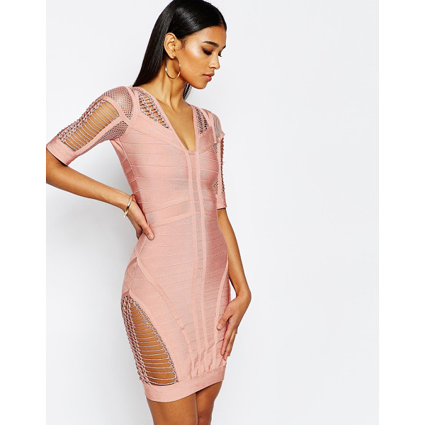WOW COUTURE WOW Couture Bandage Body-Conscious Dress with Ladder Detail - Body-Conscious dress by Wow Couture, Bandage knit, Cut-work...