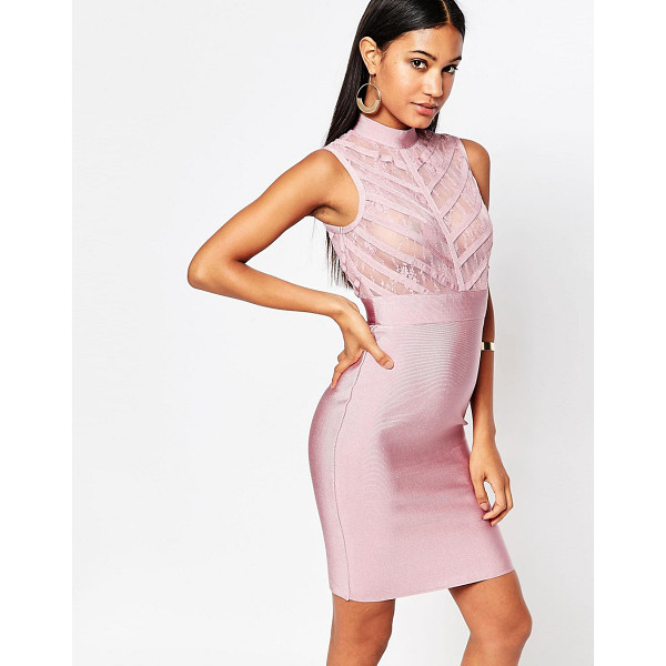 WOW COUTURE WOW Couture High Neck Bandage Bodycon Dress With Sheer Lace Bodice - Dress by Wow Couture, Lace mesh top, Firm-stretch bandage...