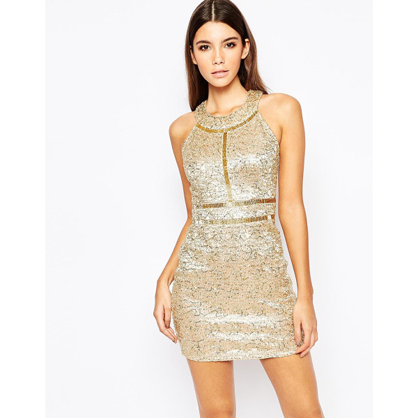 WOW COUTURE Premium metallic sequin mini dress with gold beaded details - Party dress by Wow Couture Sequin embellished fabric High...