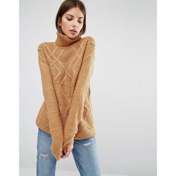 Y.A.S Fenya Oversized Rollneck - Sweater by Y.A.S, Mohair wool-mix knit, Cable texture, Roll...
