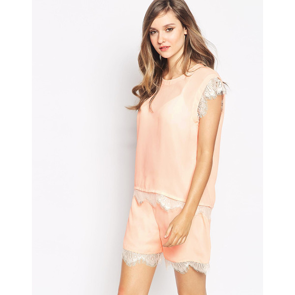 Y.A.S Insigma top with lace detail co-ord - Top by Y.A.S. Semi-sheer chiffon Round neckline Eyelash...