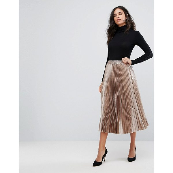 Y.A.S Metallic Pleated Skirt - Skirt by Y.A.S, Lightly pleated fabric, Mid-rise, Stretch...