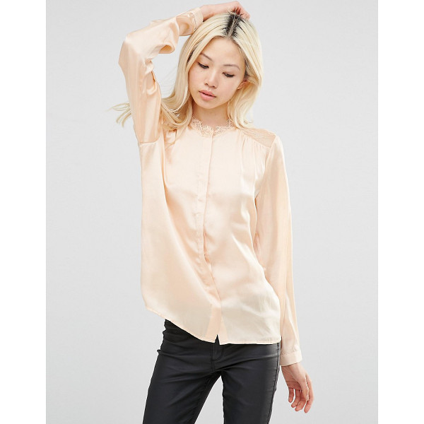 Y.A.S Shirt with lace shoulder inserts - Top by Y.A.S. Lightweight satin Lace inserts High neckline...