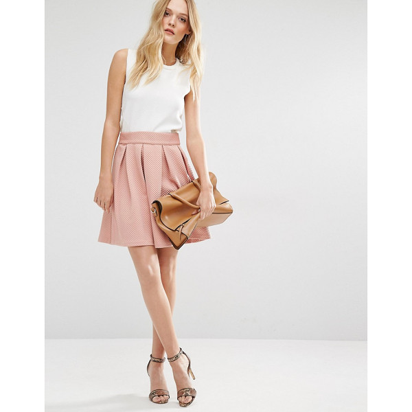 Y.A.S Structured Skater Skirt - Skirt by Y.A.S, Waffle textured woven fabric, Structured