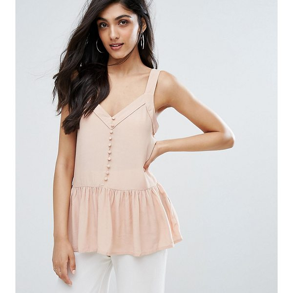 Y.A.S TALL Button Front Peplum Hem Cami Top - Tall top by Y.A.S. Tall, Woven fabric, V-neck, Button...