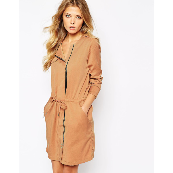 Y.A.S Theory coat dress - Dress by Y.A.S. Soft twill fabric Collarless design Zip...