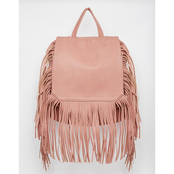 YOKI FASHION Backpack with fringing - Cart by Yoki Leather look Textured fabric Fold over flap...