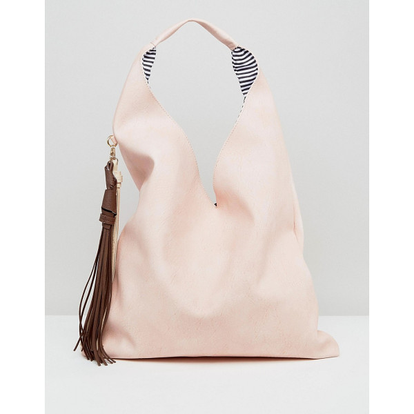 YOKI FASHION s Slouchy Shoulder Bag With Contrast Tassel - Cart by Yoki, Faux-leather outer, Fully lined, Single...