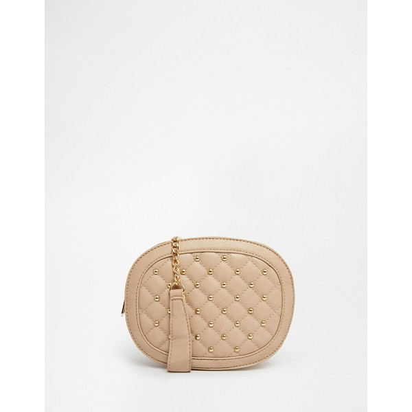 YOKI FASHION Studded and quilted mini cross body bag - Cart by Yoki Leather look fabric Studded detail Quilted...