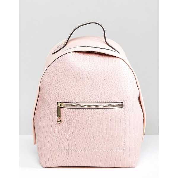 YOKI FASHION Yoki Croc Effect Backpack With Monochrome Strap - Backpack by Yoki Fashion, Faux-leather outer, Croc-effect...