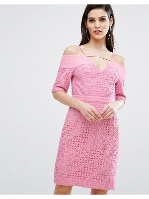 8TH SIGN The  Lace Cold Shoulder Midi Dress