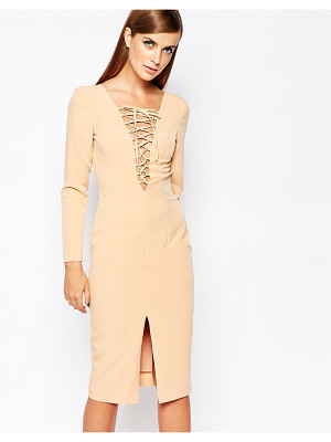 8TH SIGN The  Lace Up Front Longsleeve Bodycon Dress