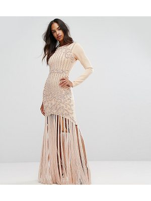 A STAR IS BORN Pencil Dress With Faux Pearl Baroque Embellishment And Tassle Hem