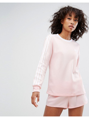 Adidas adidas Three Stripe Long Sleeve Top In Pale Pink