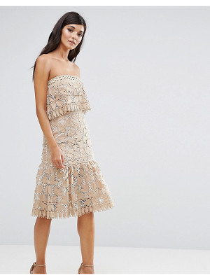 AIJEK Lace Double Layer Bandeau Dress With Peplum Hem