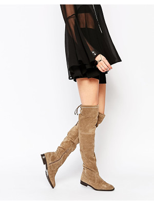 ALDO Barra Taupe Suede Flat Over The Knee Boots