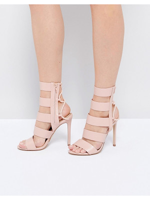 ALDO Hawaii Pink Lace Back Heeled Strappy Sandals