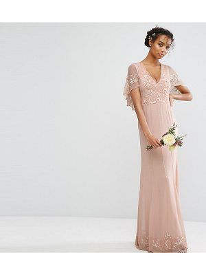 Amelia Rose Cape Maxi Dress with Embellishment and Scalloping