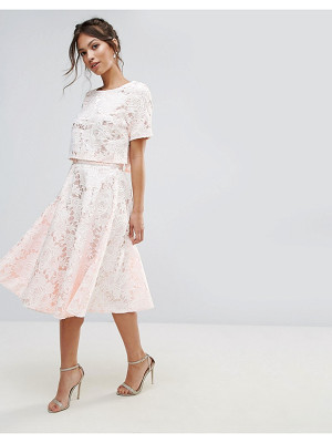 AMY LYNN OCCASION Floral Lace A Line Midi Skirt