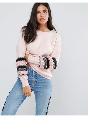 AMY LYNN Sweater With Fringed Sleeve Detail