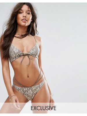 And CO And Co Gold Lace Bralette Bikini Top
