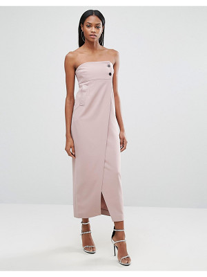 AQ/AQ Aq/Aq Split Front Midi Dress With Button Detail