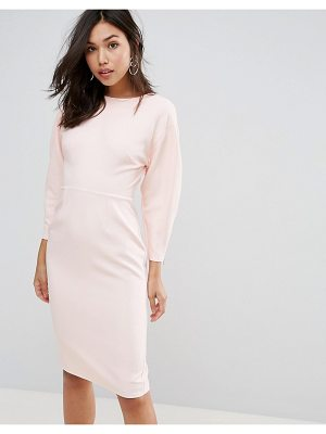 Asos 80s Clean Dome Sleeve Midi Pencil Dress