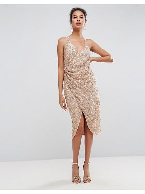 ASOS All Over Embellished Scattered Drape Midi Dress
